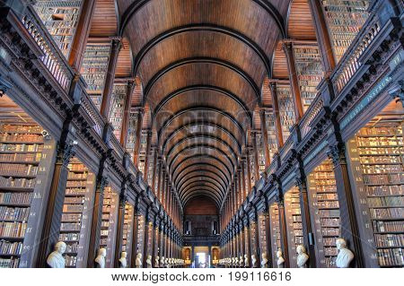 Dublin Ireland - May 30 2017: The Long Room in the Old Library at Trinity College Dublin.
