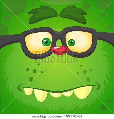 Cartoon smart zombie wearing glasses. Vector illustration of furry green monster