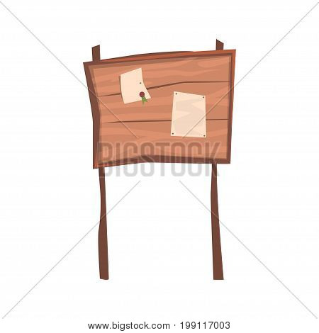 Announcements on an old wooden board vector Illustration isolated on a white background