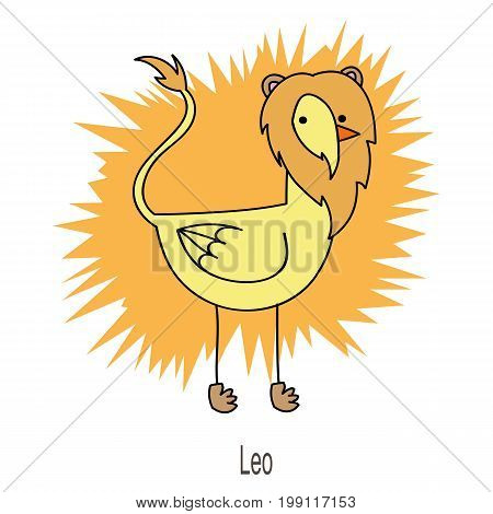 Leo horoscope sign as funny duck looks like a lion on yellow background.