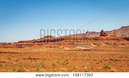 mexican Hat is a curiously sombrero-shaped rock outcropping in southwestern Utah. The rock measures 60 feet across. The