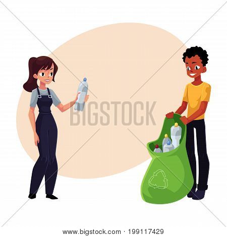 Man and woman putting garbage into trash bin, waste recycling concept, cartoon vector illustration with space for text. Full length portrait of adult people throwing garbage into trash bin