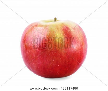 Fresh and colorful red apple isolated over the white background. A close-up of a single whole and perfectly round apple. Nutritious red and yellow apple full of vitamins.