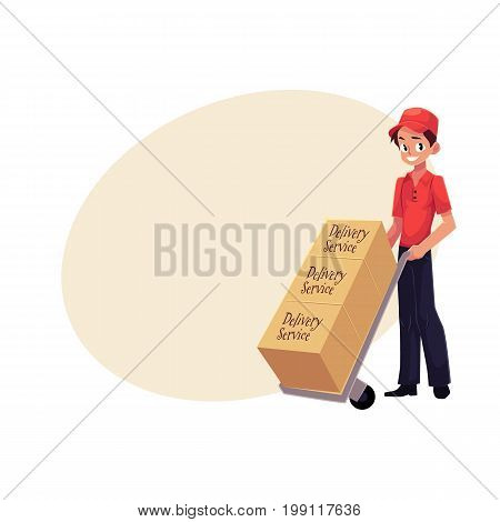 Courier, delivery service workerwith hand cart, dolly loaded with boxes, cartoon vector illustration with space for text. Full length portrait of delivery service man with hand cart, dolly