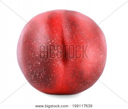 Macro picture of a whole fresh red nectarine, isolated over the white background. Healthful and organic ripe fruit. Ingredients for nutritious summer breakfasts and desserts.