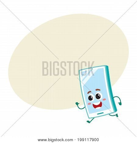 Funny cartoon mobile phone, smartphone character running, hurrying somewhere, vector illustration with space for text. Happy cartoon mobile phone, smartphone character running fast