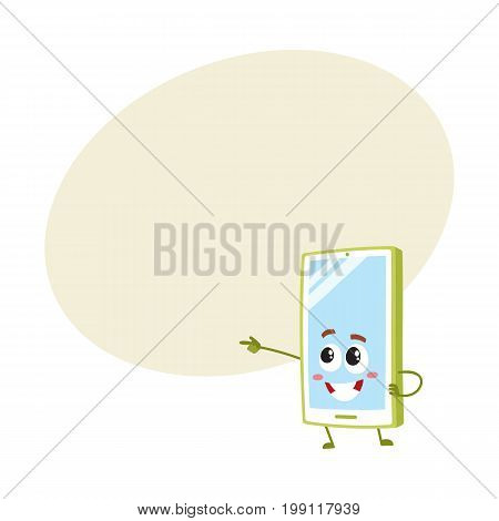 Cartoon mobile phone, smartphone character pointing to something with finger, vector illustration with space for text. Cartoon mobile phone, smartphone character drawing attention, pointing