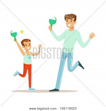 Smiling man and boy playing table tennis, dad and son having good time together colorful characters vector Illustration on a white background