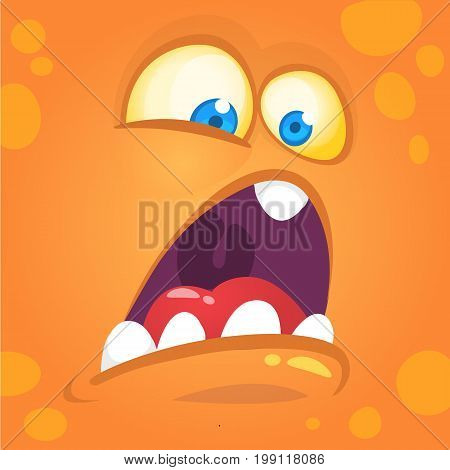 Monster alien face cartoon creature avatar illustration vector stock