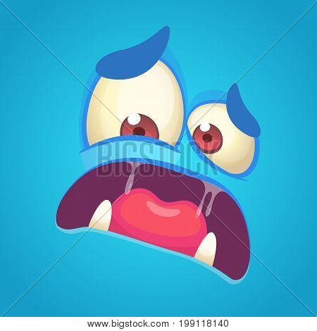 Cartoon angry monster face. Vector blue monster scared avatar