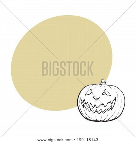 Jack o lantern, ripe pumpkin with carved scary face , traditional Halloween symbol, sketch vector illustration with space for text. Hand drawn Halloween pumpkin, jack o lantern