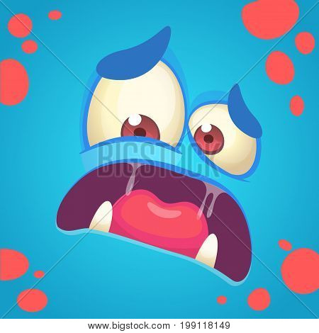 Cartoon angry monster face. Vector Halloween blue monster scared