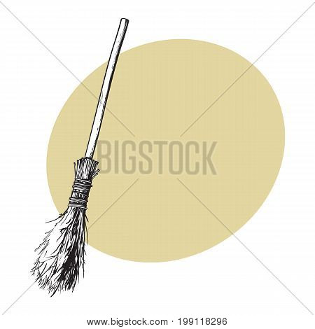 Single old twig broom, broomstick, traditional Halloween symbol, sketch style vector illustration with space for text. Hand drawn, sketch style witch broom, broomstick, Halloween object