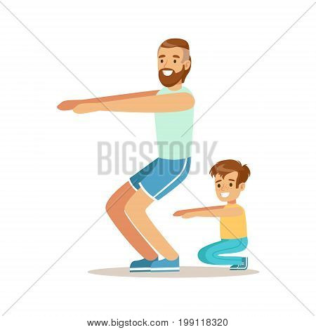 Smiling man and boy squatting, dad and son having good time together colorful characters vector Illustration on a white background