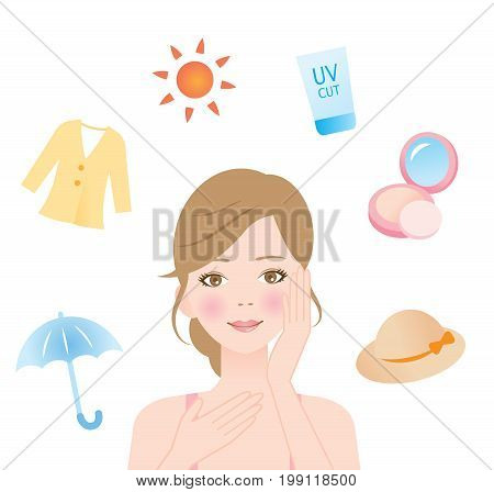 UV protection. skin care concept. woman protect her skin from ultraviolet rays with a hat, foundation, sunscreen, sun protective clothing, sunglasses, and a parasol