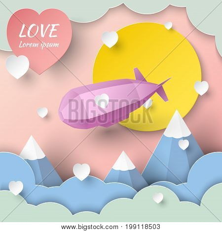 Paper art with a pink dirigible flying in the sky in clouds on a pink background. Origami Birthday Valentine's day concept vector art and illustration.