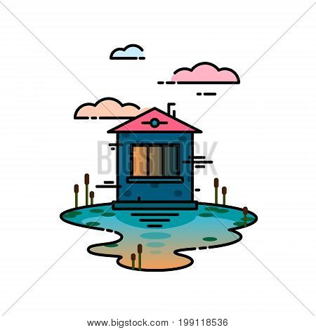 House and pond vector concept illustration in linear style. Suburban landscape with private separate house. Background for card. Concept for building and housing business card advertise flyer banner poster.