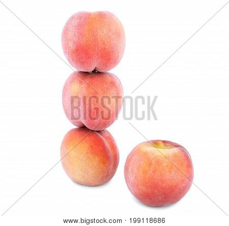 Fresh red and sappy peaches for refreshing diet, fruits for healthy summer diet full of vitamins isolated on a white background. Four summer fruit of peaches.
