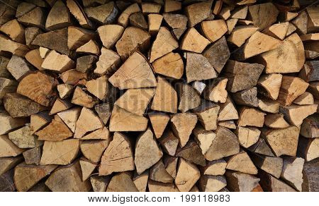 Chopped logs woodpile for fireplace/stove close-up background