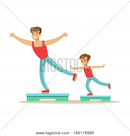 Smiling man and boy happily exercising aerobic steps, dad and son having good time together colorful characters vector Illustration on a white background
