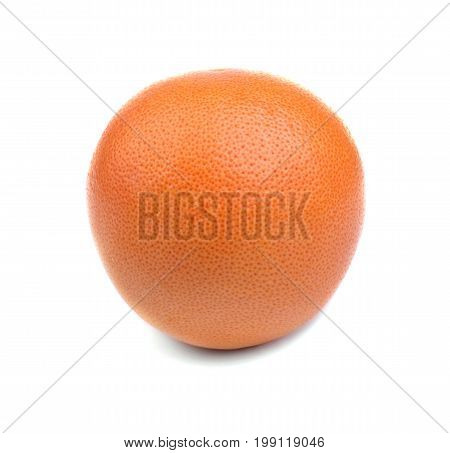 A bright fresh orange, citrus juicy fragrant fruit with a soft peel of orange color, juicy fruits for helthy summer diets isolated on a white background. A single citrus fruit full of vitamins.
