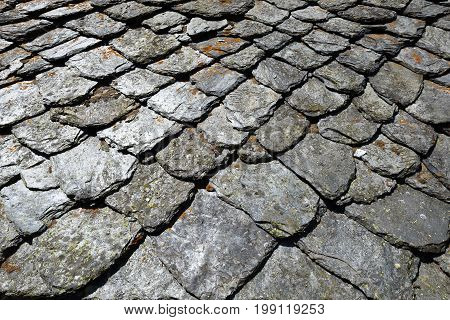 Old slate house roof from some ruins in North Italy. Great for background texture