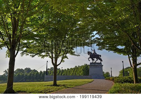 Apotheosis of St. Louis statue of King Louis IX of France namesake of St. Louis Missouri in Forest Park St. Louis Missouri.