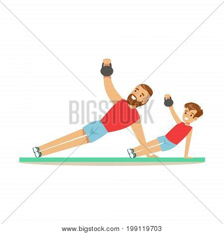 Smiling man and boy training with kettlebell, dad and son having good time together colorful characters vector Illustration on a white background
