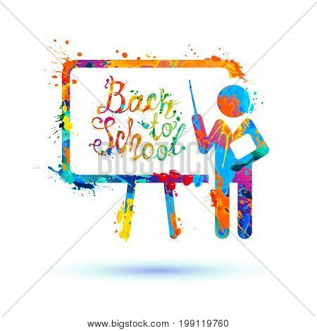 Back to school. Inscription on blackboard. Splash paint