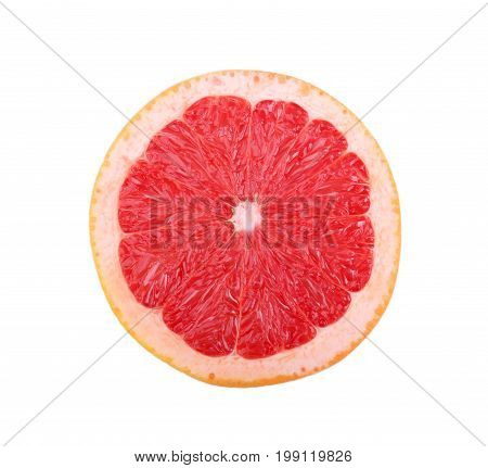Closeup of bright sappy grapefruit. A round large bright red citrus fruit full of vitamins for heath, wholesome diets and effective weight loss isolated on a white background. Citrus fruits.