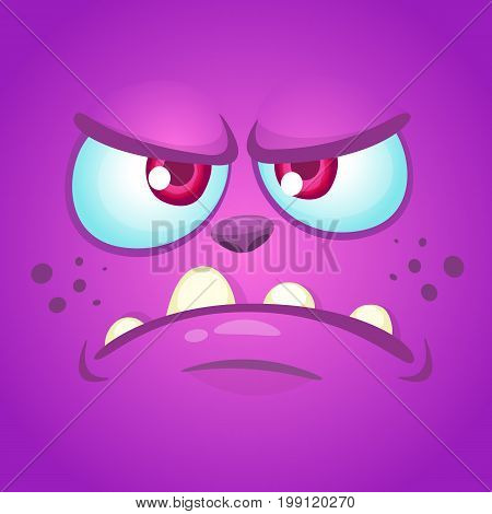 Cartoon angry monster face. Halloween mask or avatar. Vector illustration