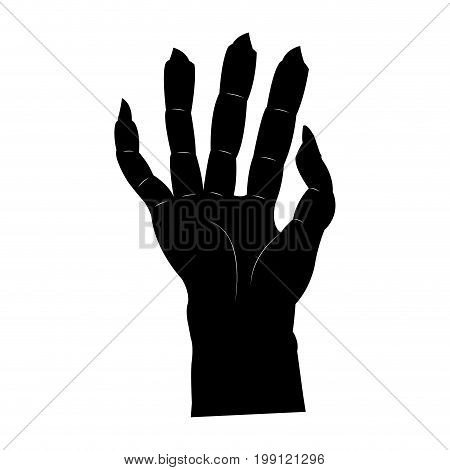 Isolated scary hand on a white background, vector illustration