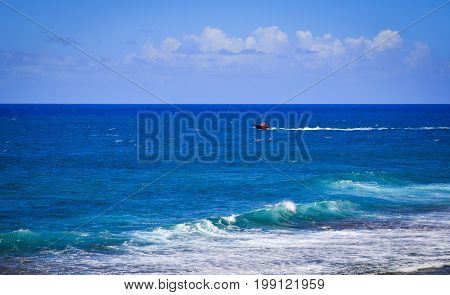 Seascape Of Le Morne At Summer In Mauritius