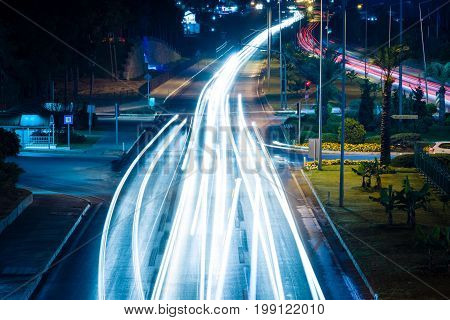 AVSALLAR TURKEY - JULY 08 2015: Night view of the highway between Antalya and Alanya. Anatolian coast - a popular holiday destination for European tourists.