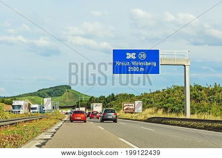 Weinsberg Germany - June 28 2017: Highway A6 (Autobahn) near town Weinsberg interchange