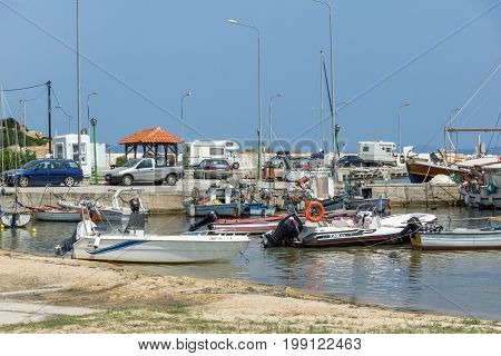 CHALKIDIKI, CENTRAL MACEDONIA, GREECE - AUGUST 26, 2014:  Panoramic view of town of Ormos Panagias at Chalkidiki, Central Macedonia, Greece