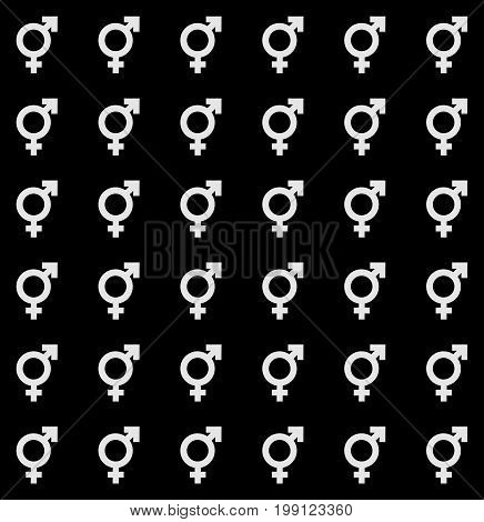 Gender Icon Seamless Endless Pattern. Transgender Texture With Vector Symbol.