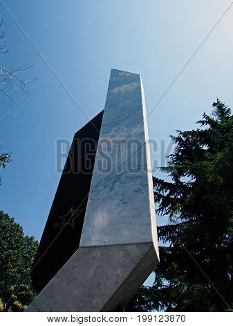 A beautiful monument to soldiers of the Afghans in Sochi in clear weather