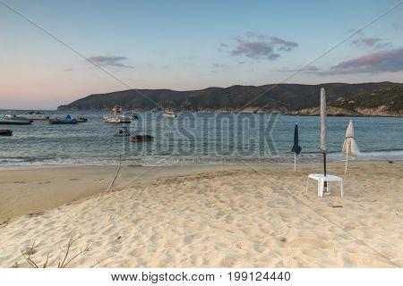 CHALKIDIKI, CENTRAL MACEDONIA, GREECE - AUGUST 26, 2014: Amazing Sunset on Kalamitsi Beach at Sithonia peninsula, Chalkidiki, Central Macedonia, Greece