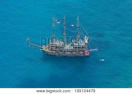 Alanya, Turkey - July 09, 2015: Mediterranean Sea. Traditional Entertainment Resort Of Alanya. Saili