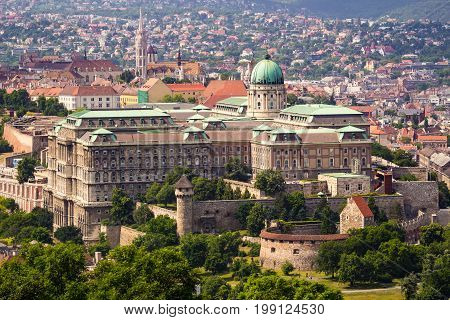 Buda Castle in Budapest from elevated view from Gellert Hill at daytime