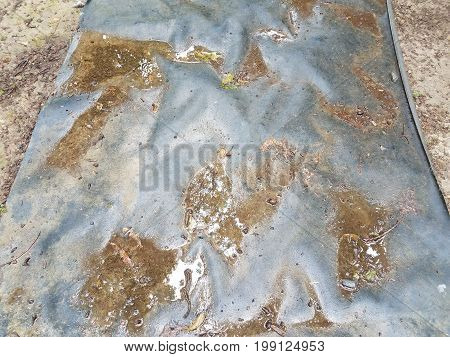 a wet and black plastic tarp on the ground