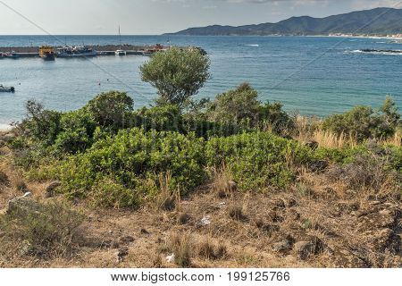 CHALKIDIKI, CENTRAL MACEDONIA, GREECE - AUGUST 26, 2014: Seascape of Achlada Beach at Sithonia peninsula, Chalkidiki, Central Macedonia, Greece