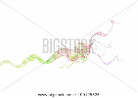 A colored trickle of smoke curls. White background
