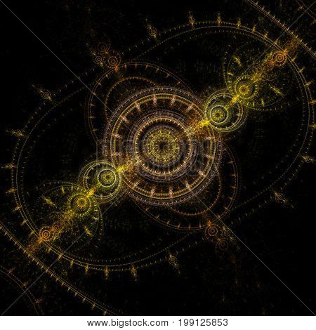 Golden clockwork on a black background. Gears and cogs. Abstraction