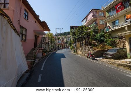 ALANYA TURKEY - JULY 09 2015: Residential buildings in the mountainous part of the city. Alanya - a popular holiday destination for European tourists.