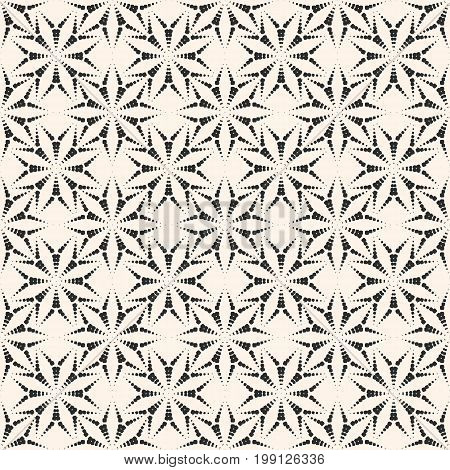 Abstract vector seamless pattern with small dotted floral shapes asters. Subtle geometric background. Stylish monochrome texture. Illustration of fireworks burst. Elegant design for decor, fabric.