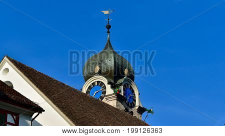 Eglisau, Bülach, Switzerland, church, tower, church-clock, church