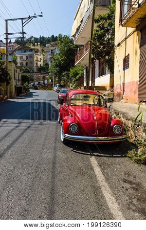 ALANYA TURKEY - JULY 09 2015: Vintage car Volkswagen Beetle on the streets of Alanya. Alanya a popular Mediterranean resort.