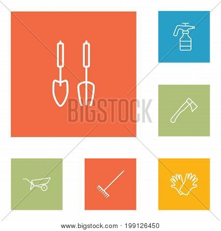 Collection Of Hatchet, Atomizer, Barrow And Other Elements.  Set Of 6 Farm Outline Icons Set.